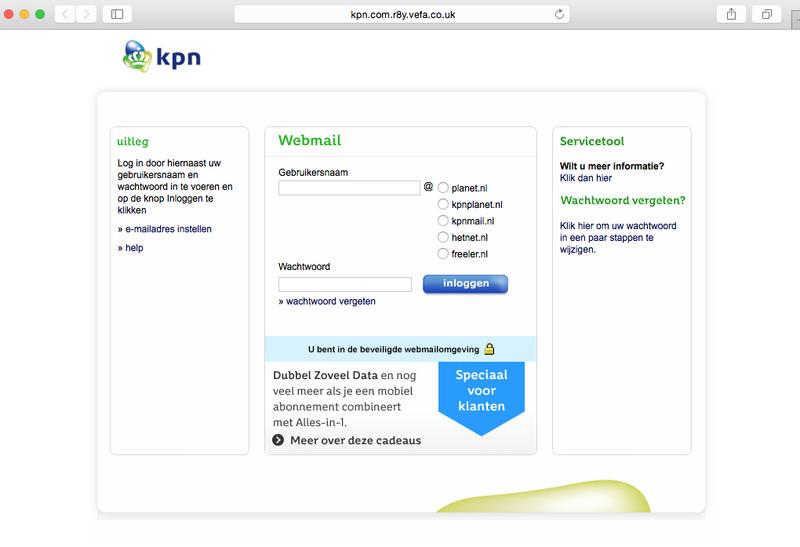 Valse mail 'KPN' over mislukte inlogpoging