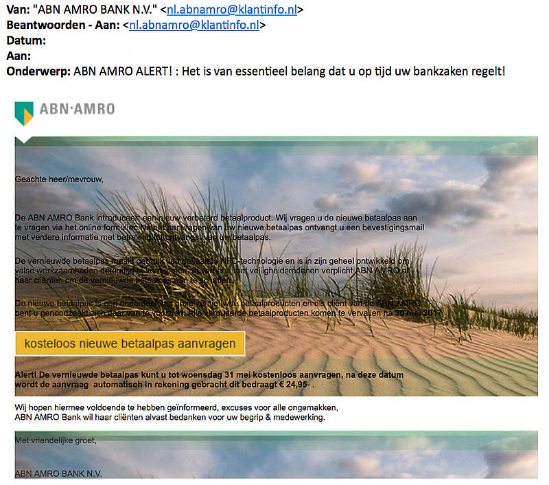 ABN AMRO-klanten doelwit van phishingaanval
