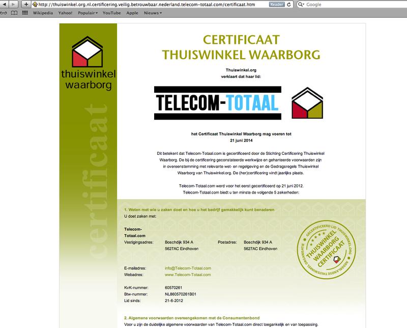 'Telecom-totaal.com vervalst certificaat en misbruikt KvK'