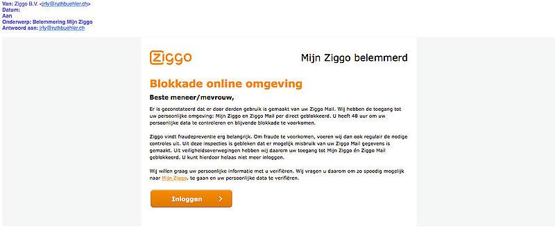Pas op voor phishingmail uit naam Ziggo