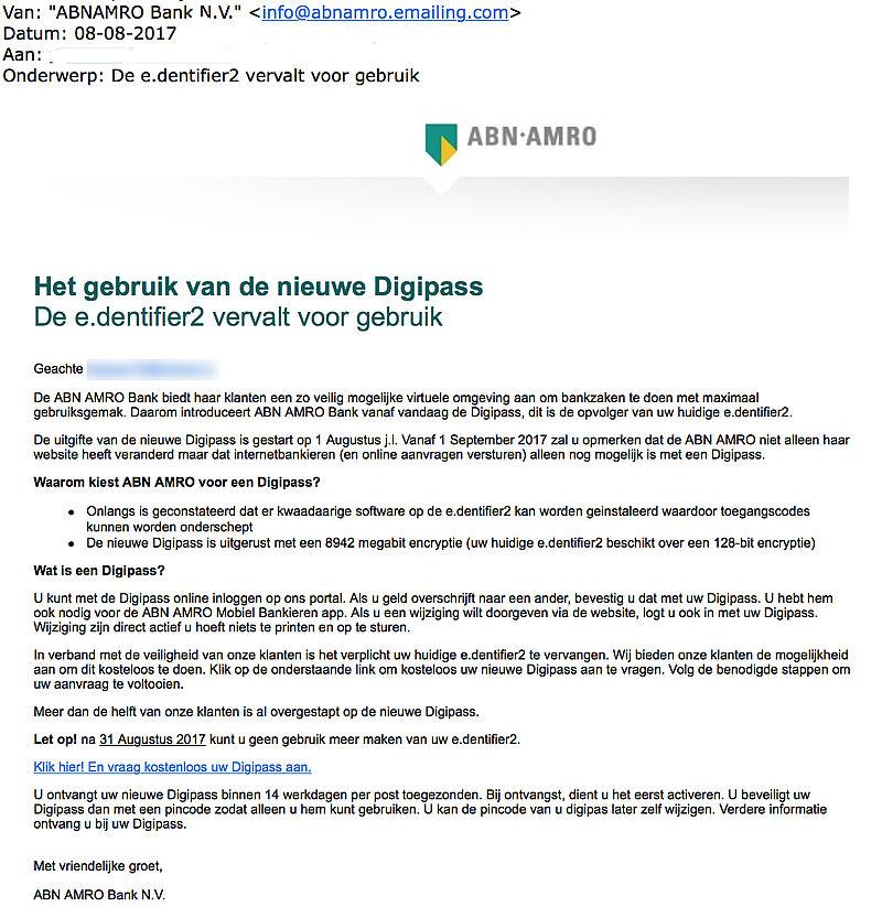 Valse e-mail ABN AMRO: 'De e.dentifier2 vervalt voor gebruik'