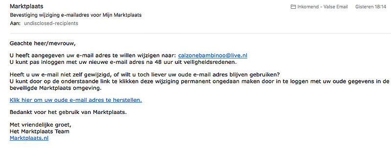 Bericht van Marktplaats over gewijzigd e-mailadres