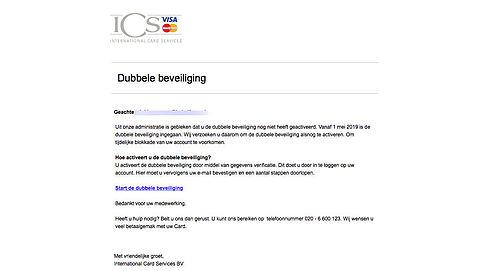 'Dubbele beveiliging' e-mail 'ICS' is nep