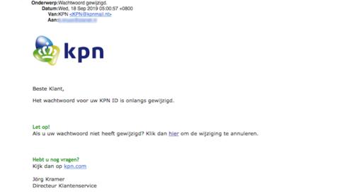 Mail van 'KPN' over gewijzigd wachtwoord is nep