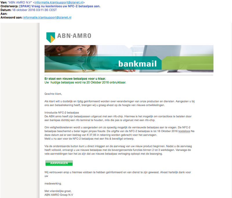 Valse e-mail 'ABN AMRO'