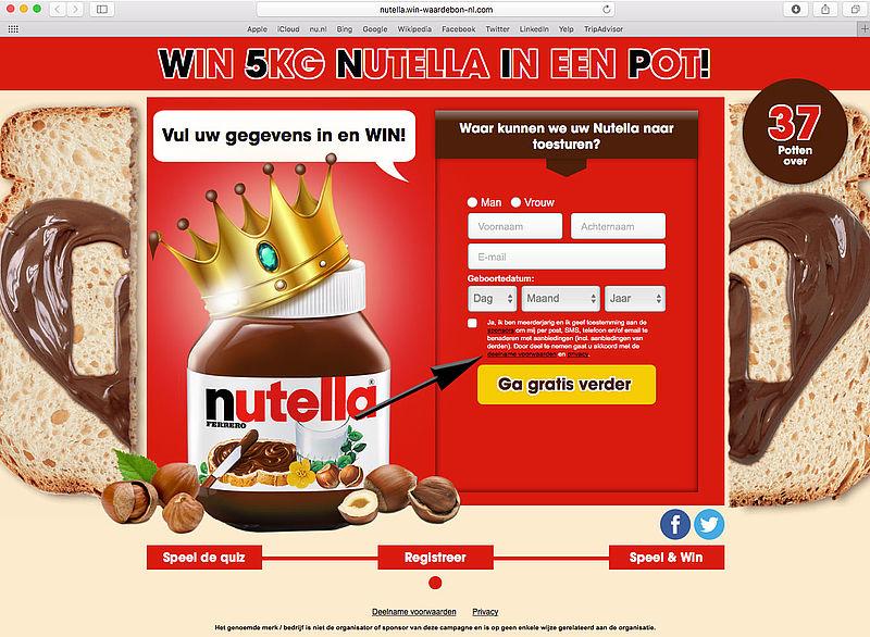 Valse winactie: 'vijf kilogram Nutella'