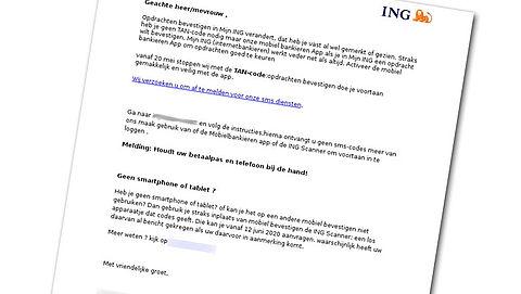 Nepbericht over TAN-codes uit naam van ING verstuurd