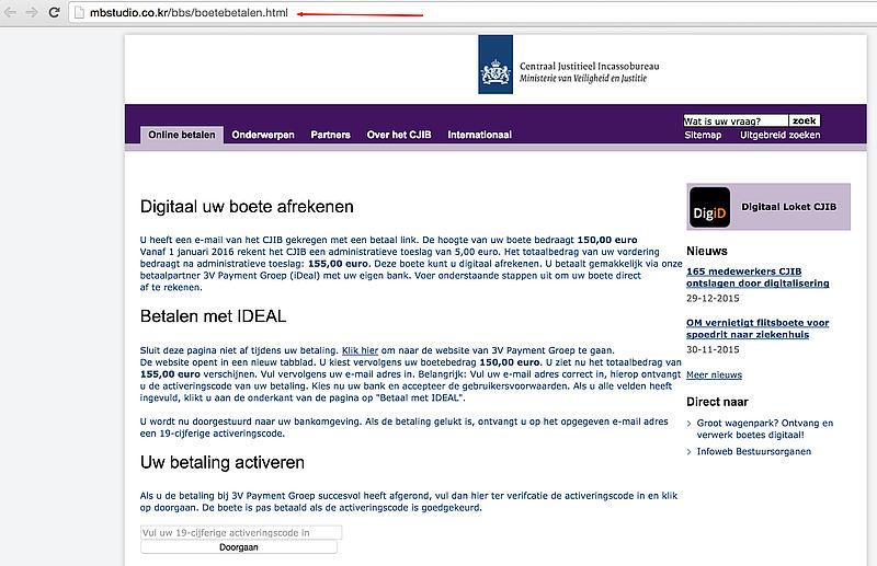 Oplichters maken website CJIB na
