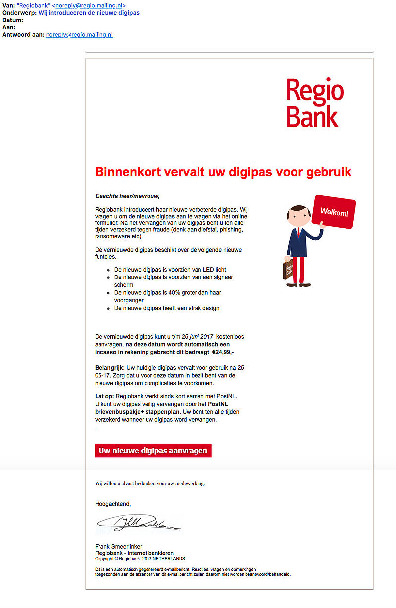 Valse e-mail 'Regiobank' over bankpas vervangen