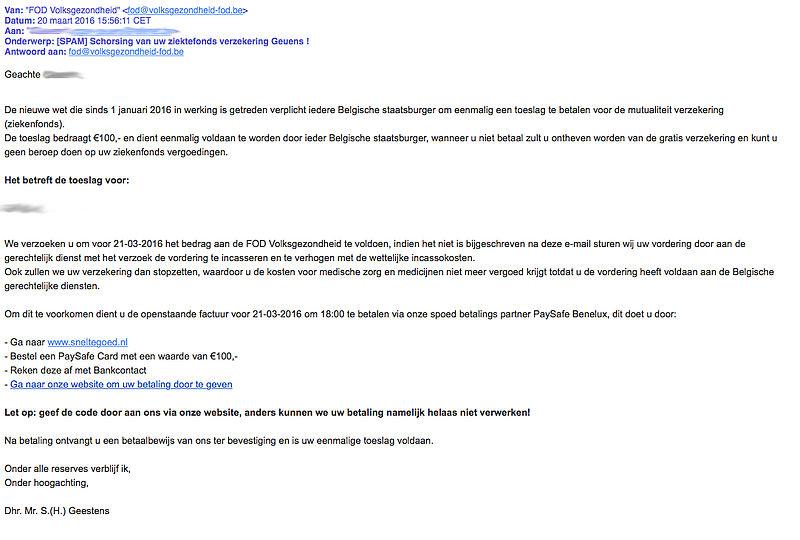 Valse e-mail 'FOD Volksgezondheid'
