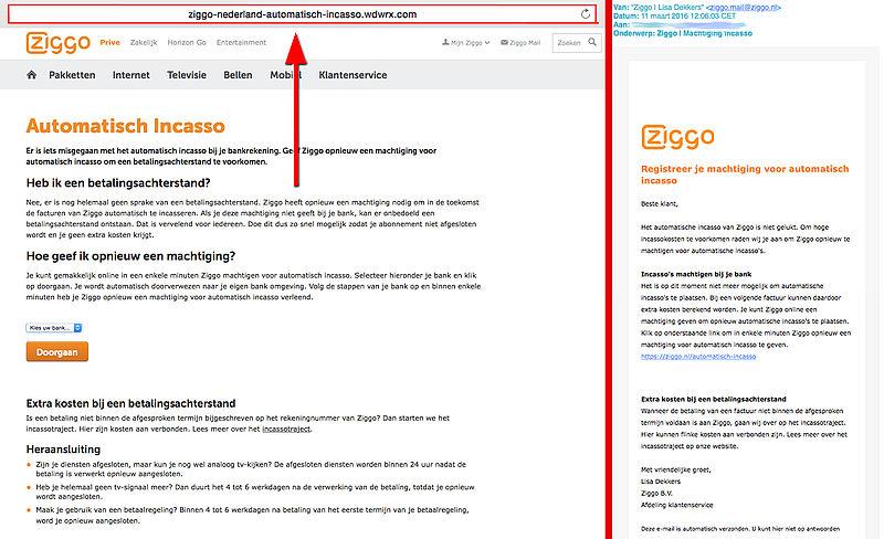 Klik niet op de link in valse 'Ziggo' e-mail!