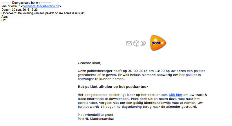 Malware in e-mail 'PostNL'