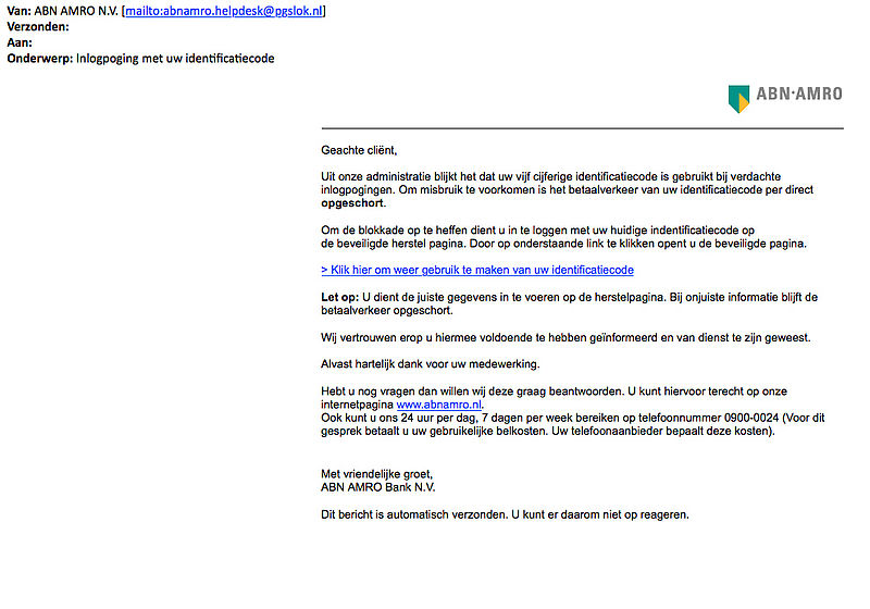 Phishingmail 'ABN AMRO' verstuurd over valse inlogpoging