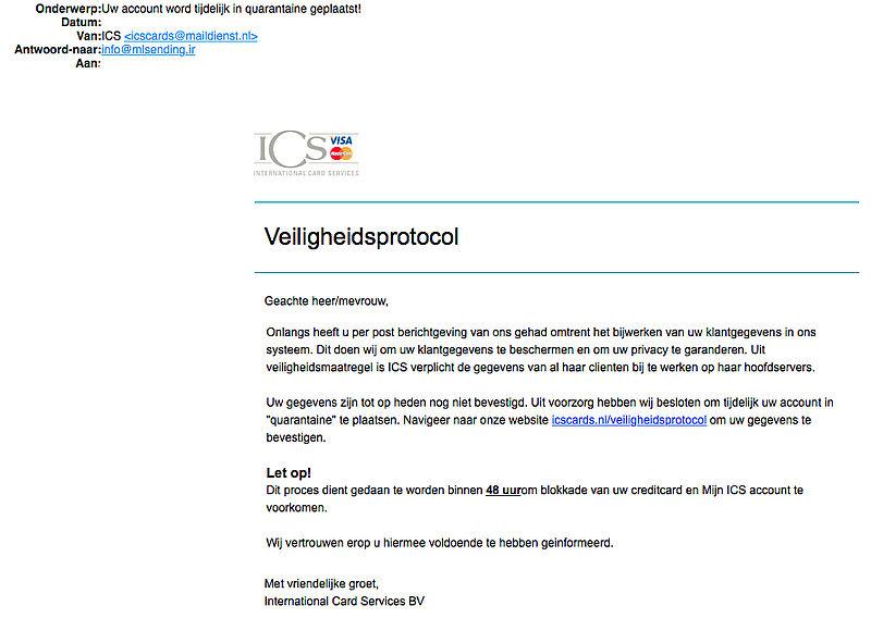 Trap niet in valse e-mail 'ICS' over een veiligheidsprotocol
