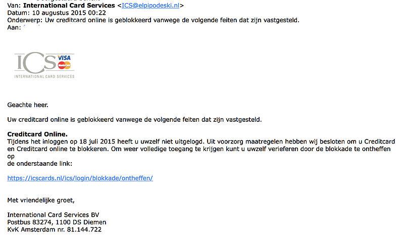 Valse mail ICS: creditcard online geblokkeerd