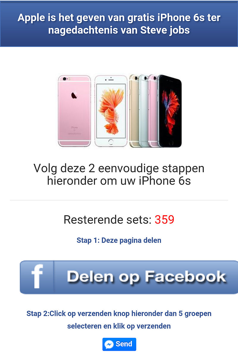Facebook scam: gratis iPhone ter nagedachtenis Steve Jobs