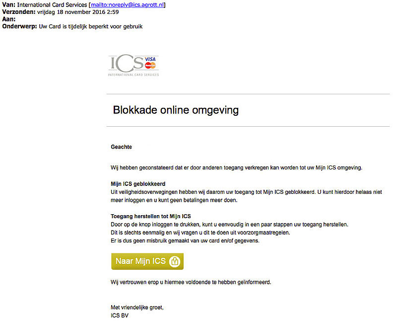 Phishingmail 'ICS' over geblokkeerd account