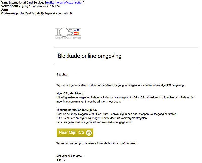 Phishingmail 'ICS' over geblokkeerd account