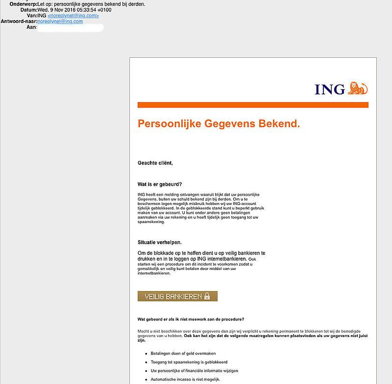 Pas op voor phishingmail 'ING'