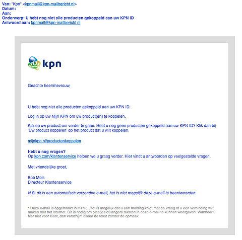 Valse e-mail 'KPN' over producten koppelen