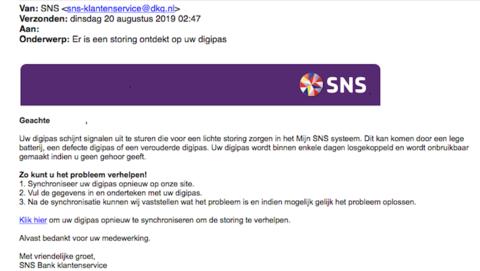 Mail gehad dat jouw pinpas van SNS 'signalen uitzendt die het systeem verstoren'? Onzin!