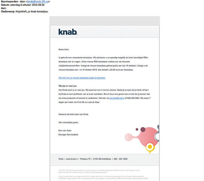 Valse mail over nieuwe betaalpas 'Knab'