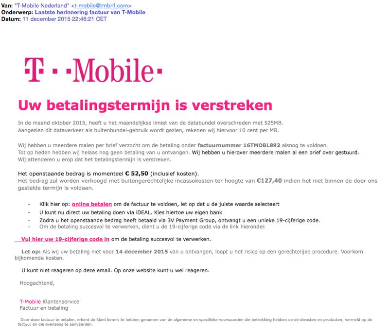 Pas op voor nepfactuur T-Mobile!