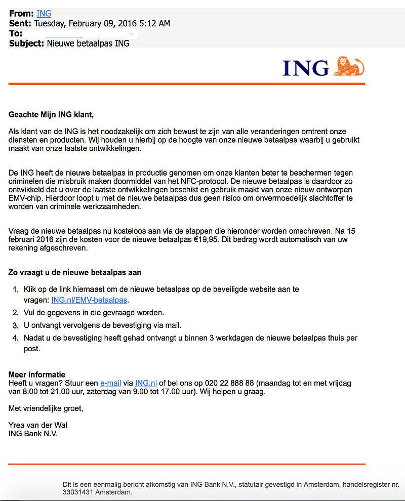 Let op: nepmail ING over nieuwe betaalpas