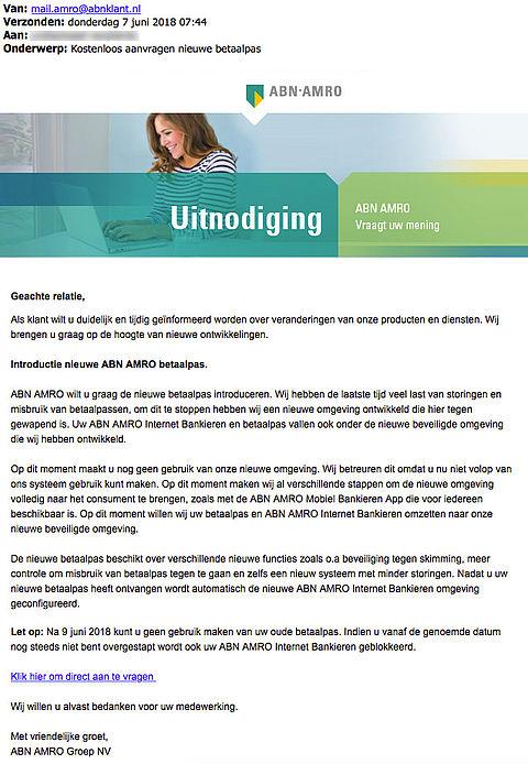 Wees alert! Phishingmail 'ABN AMRO' in omloop