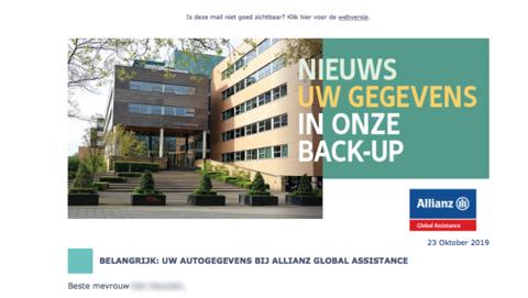 Verzekeraar Allianz informeert klanten over datalek