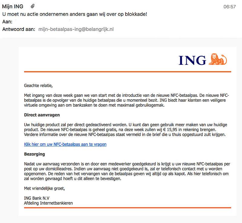Oplichters sturen e-mail over nieuwe ING-betaalpas