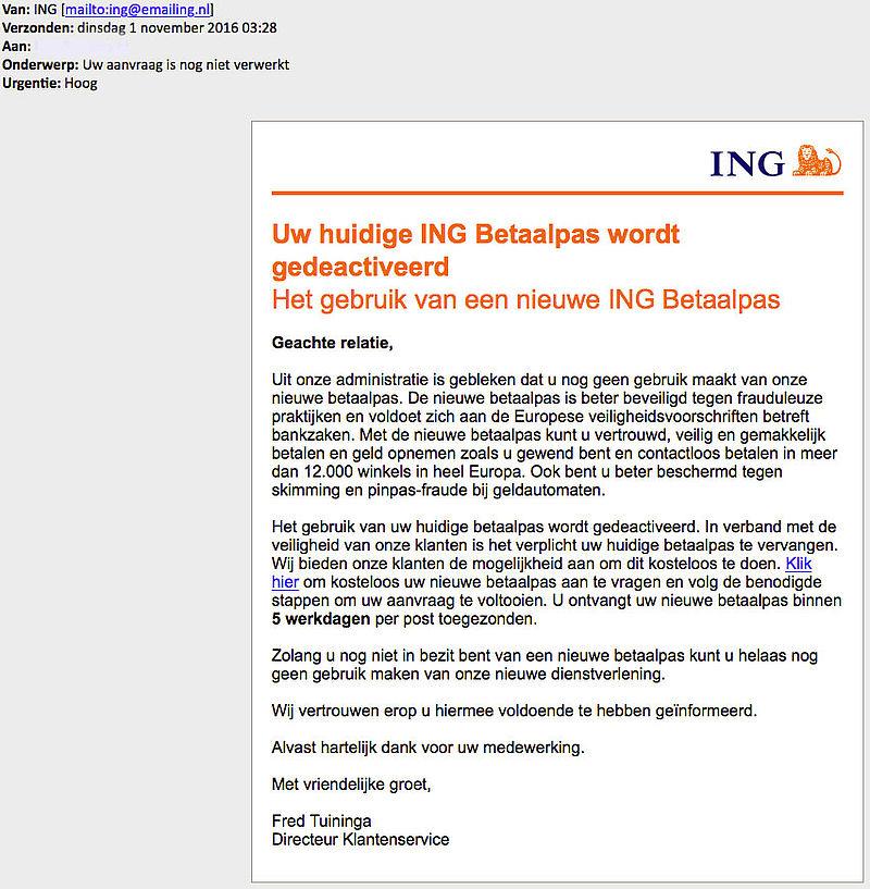 Criminelen sturen valse e-mail 'ING'