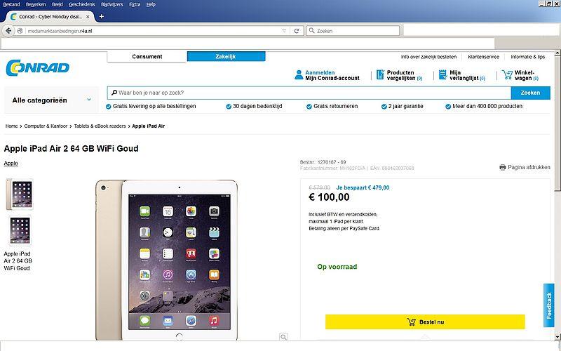 'Mediamarktaanbiedingen.r4u.nl misbruikt gegevens Mediamarkt en Conrad'