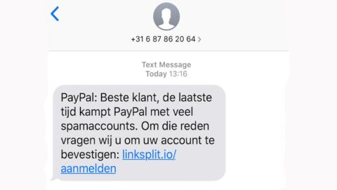 Sms-bericht van 'PayPal' is nep