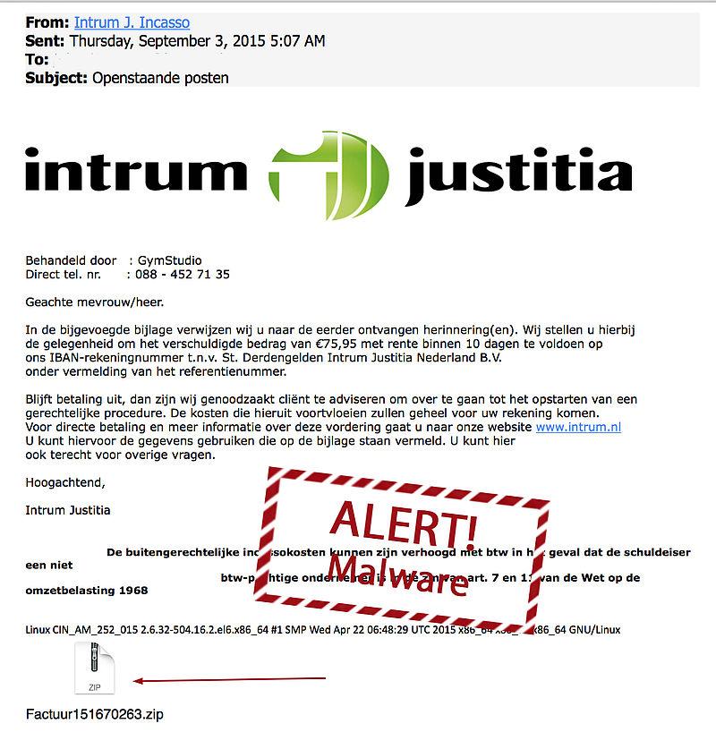 Veel meldingen malware-mail Intrum Justitia
