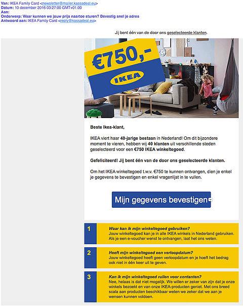 Misleidende e-mail over IKEA winkeltegoed