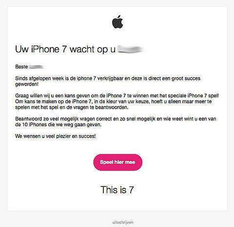 Pas op voor winactie: 'uw iPhone 7 wacht op u'
