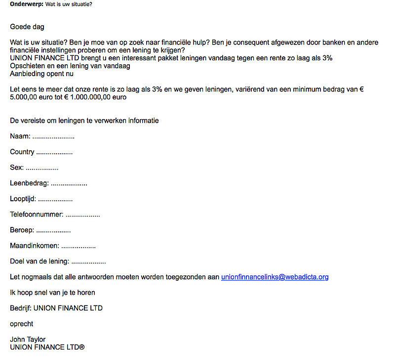 Valse e-mail 'Union Finance LTD'