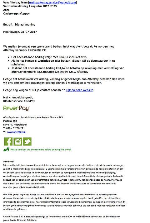 Let op! Valse e-mails 'AfterPay' in omloop
