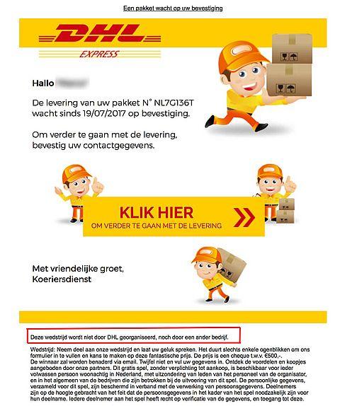 E-mail over levering pakket komt niet van DHL