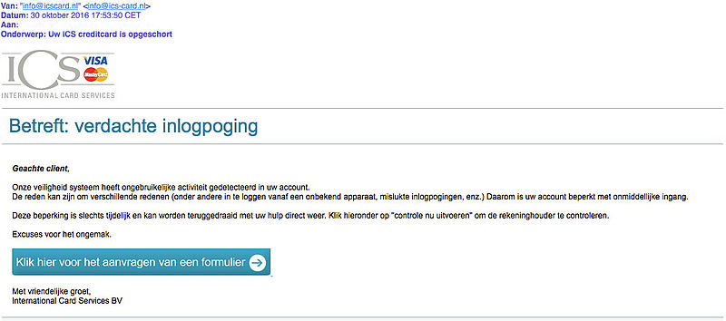 E-mail over verdachte inlogpoging 'ICS' is phishing