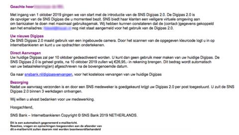 Mail van 'SNS' over Digipas 2.0 is vals