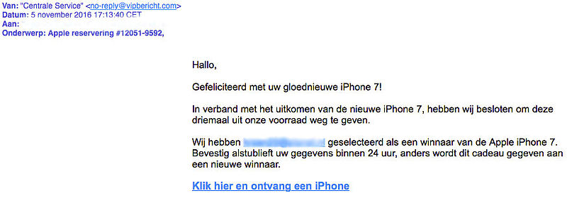 E-mail over iPhone 7 voor slechts één euro is nep