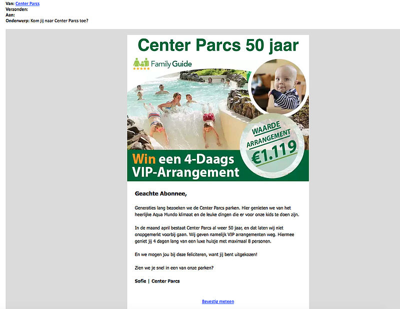 Valse e-mail verstuurd over vip-arrangement 'Center Parcs'