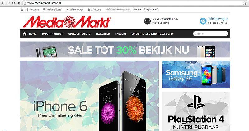 'Mediamarkt-store.nl misbruikt gegevens echte MediaMarkt'