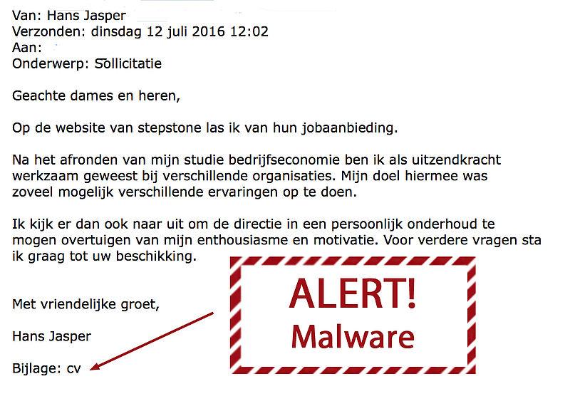 Malware verstopt in 'sollicitatie' Hans Jasper