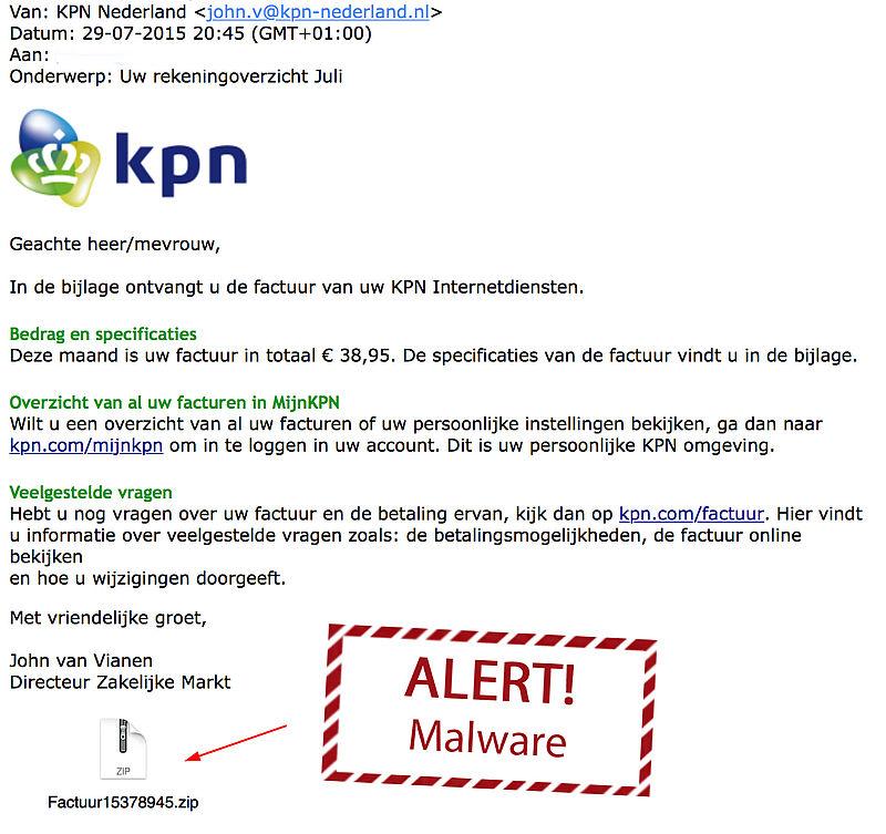 Weer malware-facturen KPN verstuurd