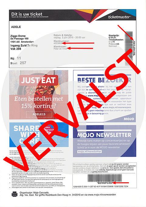 Valse e-tickets voor concert Adele in omloop