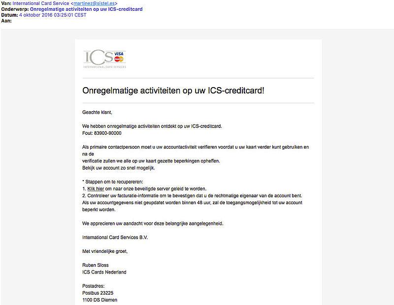 Valse e-mail 'onregelmatige activiteiten op ICS-creditcard'