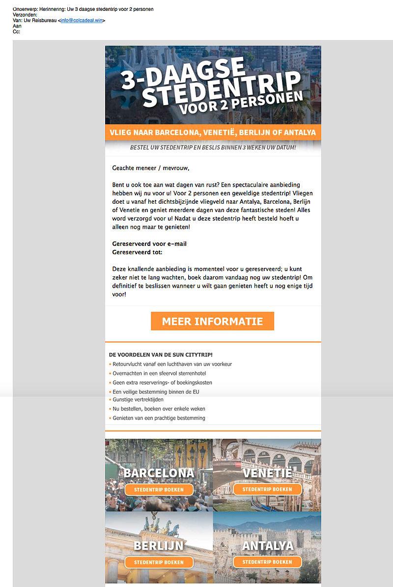 E-mail 3-daagse reis winnen? Deelname op eigen risico!